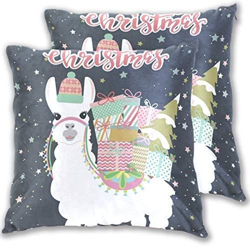 Wamika Merry Christmas Alpaca Llama Kissenbezug Standardgröße 2er-Set Cartoon-Motiv BaumwolleLeinen 406 x 406 cm Kissenschutz für Couch Sofa Bett Heimdekoration Baumwolle Multi 18x18