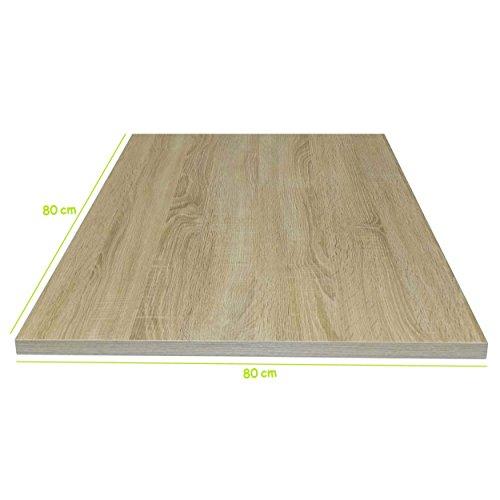 Tischplatte Sonoma Eiche stabile Holz Tisch-Platte 22 cm stark für Couchtisch Esstisch Schreibtisch quadratisch 80 x 80 cm