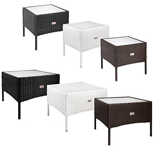 ESTEXO Beistelltische aus Polyrattan Teetisch Garten Rattan Tisch Gartenmöbel 50x50x40 cm Dunkelbraun