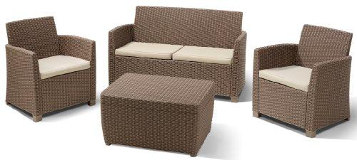 Allibert 212405 Lounge Set Corona mit Kissenbox-Tisch 2 Sessel 1 Sofa 1 Tisch Rattanoptik Kunststoff cappuccino