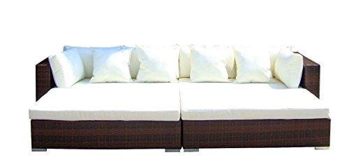 Baidani Gartenmöbel-Sets 10d0000100002 Designer Rattan Lounge Paradise 2 Sofas Sitzauflage Kissen braun