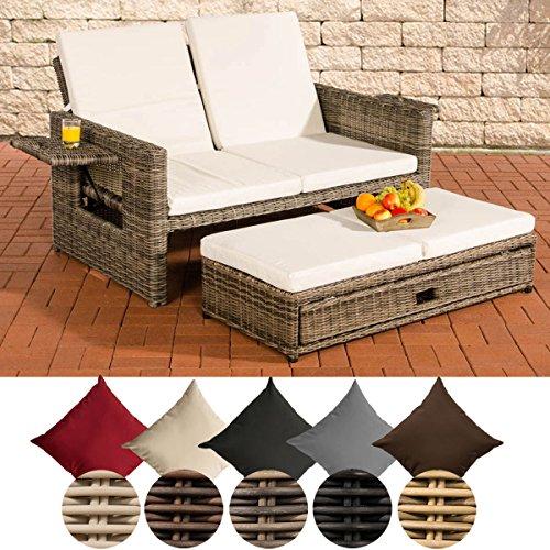 CLP flexibles Poly-Rattan 2er Lounge-Sofa ANCONA ALU-Gestell ausziehbares Fußteil 7 Farben  3 Rattan Stärken wählbar inkl Auflagen Rattan Farbe grau-meliert Stärke 5 mm Bezugfarbe Cremeweiss