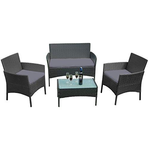 FROADP Poly Rattan balkonmöbel gartenmöbel Set schwarz - mit 2-er Sofa Singlestühle Tisch und Anthrazit Sitzkissen - Gartenmöbel Lounge Farbwahl Anthrazit Sitzkissen,A Type