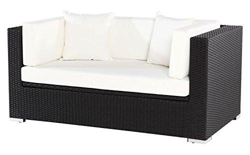 Outflexx 2-Sitzer Sofa inklusive Polster und Kissenbox funktion Polyrattan Schwarz 152 x 85 x 70 cm