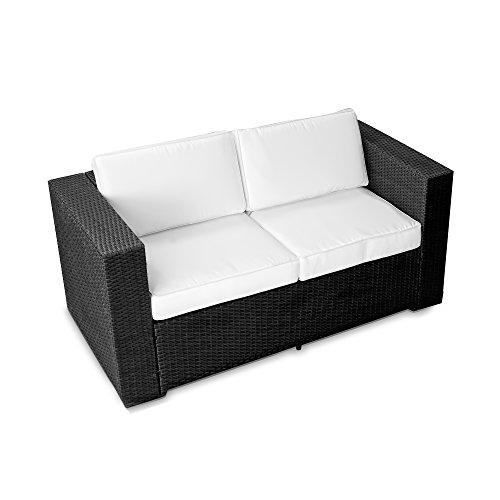 XINRO 2er Polyrattan Lounge Sofa - Gartenmöbel Couch Bank Rattan - durch andere Polyrattan Lounge Gartenmöbel Elemente erweiterbar - InOutdoor - handgeflochten - schwarz