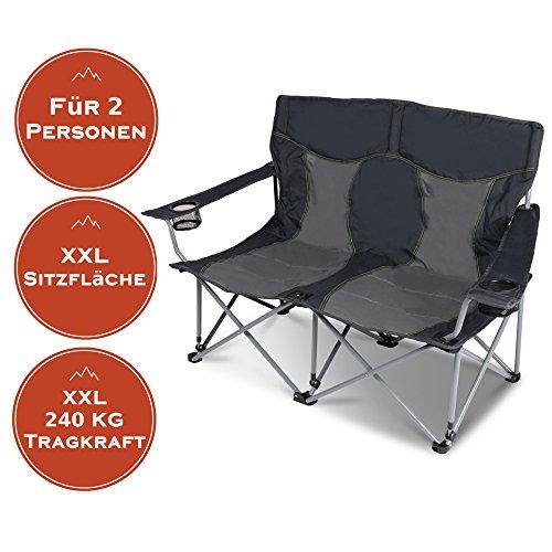 XXL Campingsofa mit 240 KG Tragkraft  2 Getränkehalter  Doppel-Campingstuhl im Lounge-Charakter für EXTREMEN Komfort  Minimales Gewicht  für 2 Personen Campingsofa Grau-Schwarz