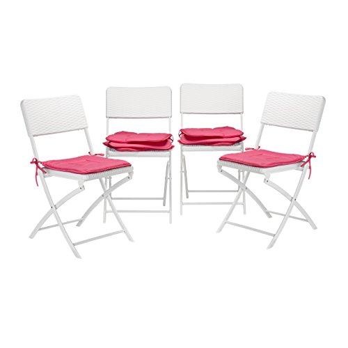 8x Stuhlkissen Sitzkissen mit Schleife Auflage für Stühle in Haus und Garten waschbar Stuhlauflage Polyester pink