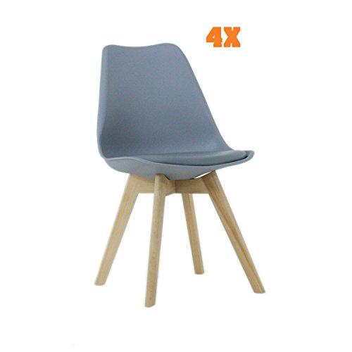 P N Homewares Lorenzo Tulip Stuhl Kunststoff Retro Esszimmer Stühle weiß schwarz grau rot gelb pink grün blau Set von 4 grau