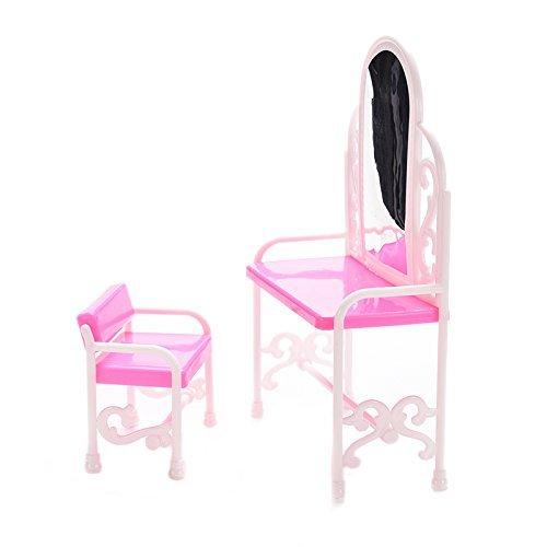 TYKusm Süße Puppenhaus Mini Schlafzimmer Möbel Frisiertisch und Stuhl für Barbies Puppen Pink