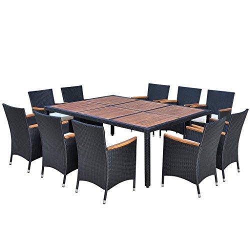 Festnight Poly-Rattan Gartenmöbel-Set Garten Essgruppe Akazienholz-Tischplatte Sitzgruppe mit 1 Gartentisch  10 Stühle  10 Sitzkissen für 10 Personen - Schwarz