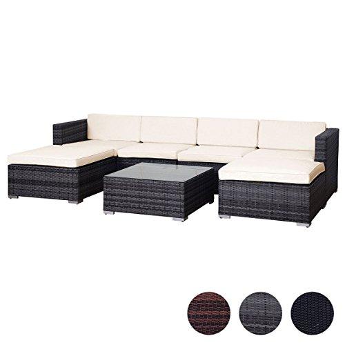 SVITA Lugano Poly Rattan Lounge Garten-Set XXL Sofa-Set Garnitur Gartenmöbel Couch-Set XXL Grau