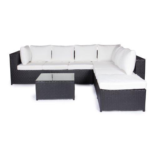 Vanage Montreal Gartenmöbel-Set XXXL schöne Polyrattan Lounge Möbel für Garten Balkon und Terrasse 2 Dreisitzer schwarzweiß
