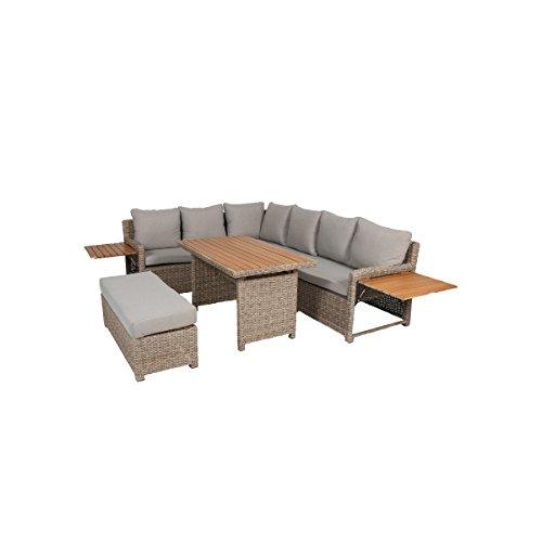 greemotion 128512 Rattan Lounge Set Verona-Loungemöbel mit Esstisch für Garten Terrasse-Gartenmöbel aus Polyrattan Braun-Beige-Outdoor Loungeset mit Stauraum 192 x 25 x 75 cm