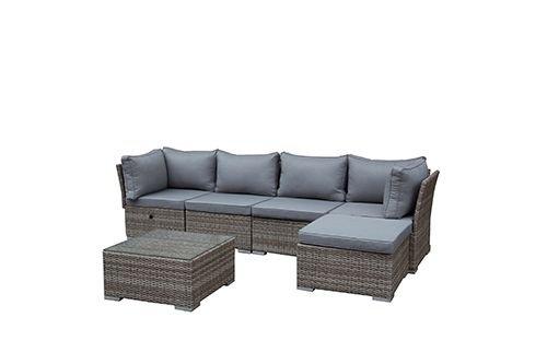 greemotion Rattan-Lounge Toronto - Gartenmöbel-Set 6-teilig aus Polyrattan in Braun-Beige mit Auflagen in Grau - Design-Loungeset mit 2 x Rattansessel Glastisch Tisch-Hocker für Outdoor Indoor