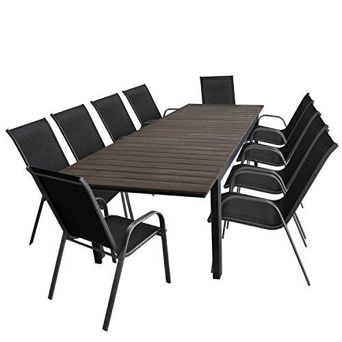 11tlg Gartengarnitur Gartentisch ausziehbar Aluminiumrahmen Polywood-Tischplatte 280220x95cm  10x Stapelstuhl Textilenbespannung  Sitzgruppe Sitzgarnitur Gartenmöbel Terrassenmöbel Set