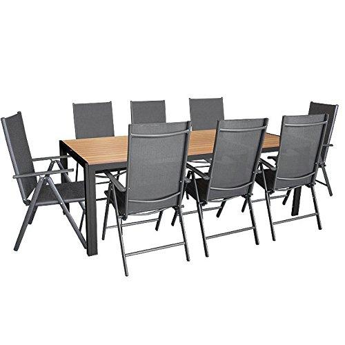 9tlg Gartengarnitur Aluminium Gartentisch mit Polywood-Tischplatte 205x90cm  8x Aluminium-Hochlehner mit 2x2 Textilenbespannung 7-fach verstellbar klappbar anthrazit  Sitzgruppe Sitzgarnitur Gartenmöbel Terrassenmöbel