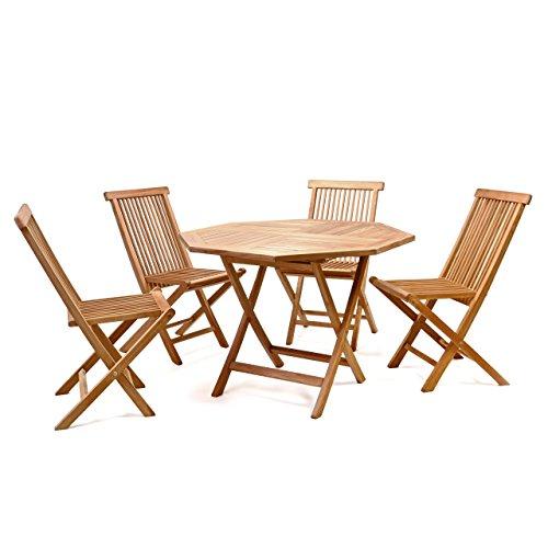 Divero Gartenmöbel-Set Terrassenmöbel-Garnitur Sitzgruppe 5-tlg Tisch achteckig Ø 100 cm 4 x Holzstuhl klappbar – Teakholz massiv behandelt