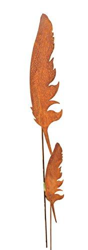 Blümelhuber Gartenstecker Set Federn 1 x 118cm  1 x 70cm Metall Rost Gartendeko Edelrost