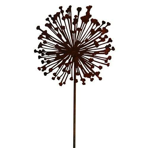 Edelrost Gartendekoration - Gartenstecker Allium Pflanze - Länge 135cm  Ø 30cm - Frühjahr Sommer Rost Dekoration