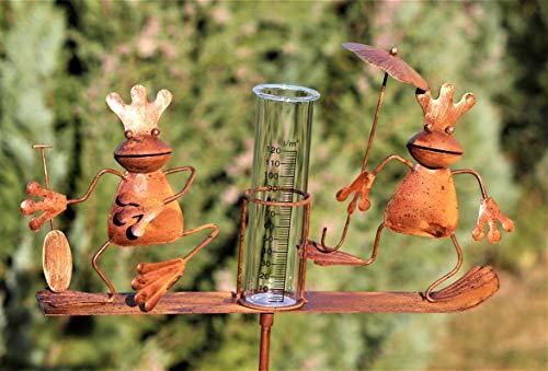 Regenmesser Metall  Gartenstecker Gartendeko Rostoptik Froschkönige