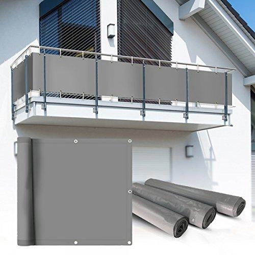 Balkon Sichtschutz 6x09m hellgrau Balkonsichtschutz Balkonverkleidung Sichtschutzmatte Balkonverkleidung Balkonbespannung