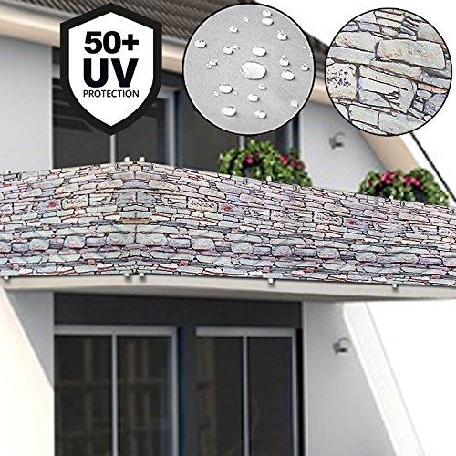 Deuba Windschutz 5m  UV-Schutz 50  wasserabweisend  Sichtschutz Balkonbespannung Balkonsichtschutz  einfache Montage  waschbar  500cm x 90 cm Steinoptik