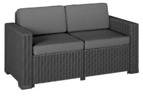 Allibert 212366 Lounge Sofa 2-Sitzer California Sofa Rattanoptik Kunststoff graphit
