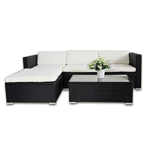 Di-Nesh 6034 POLY RATTAN Lounge Schwarz Gartenset Sofa Garnitur Polyrattan Gartenmöbel