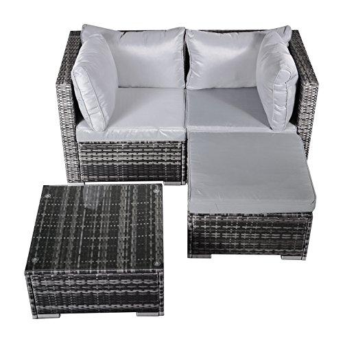 Hansson Polyrattan Gartenmöbel Lounge Set Sitzgruppe Garnitur Poly Rattan inkl Sofa Sessel Kissen Hocker Tisch mit Glas 2 x Ecksofa 1 x Tisch Hocker