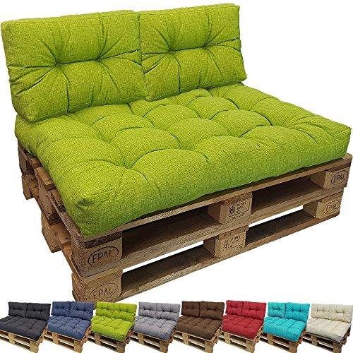 PROHEIM Outdoor Palettenkissen Lounge Palettensofa IndoorOutdoor schmutz- und Wasserabweisende Palettenauflage Palettenpolster für Europaletten FarbeApfelgrün VarianteKurzes Rückenkissen