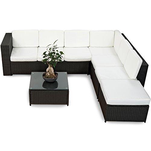 XINRO 19tlg XXXL Polyrattan Gartenmöbel Lounge Sofa günstig - Lounge Möbel Lounge Set Polyrattan Rattan Garnitur Sitzgruppe - InOutdoor - handgeflochten - mit Kissen - schwarz