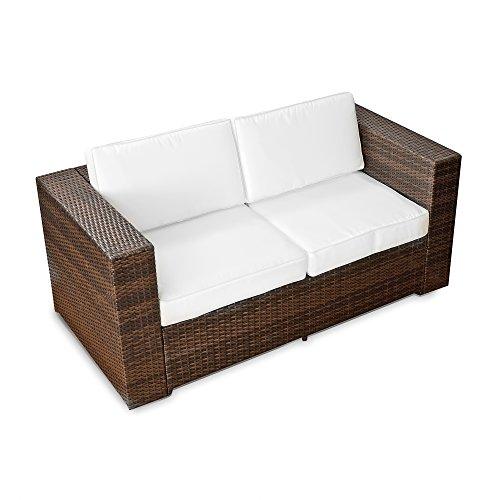 XINRO 2er Polyrattan Lounge Sofa - Gartenmöbel Couch Bank Rattan - durch andere Polyrattan Lounge Gartenmöbel Elemente erweiterbar - InOutdoor - handgeflochten - braun