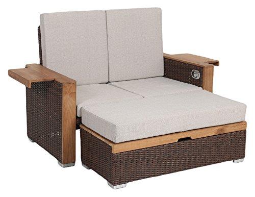 greemotion Rattan-Lounge Bahia Lanzarote Sofa Bett aus Polyrattan Akazienholz 2er Garten-Sofa mit Stahl-Gestell Daybed zweigeteilt braun