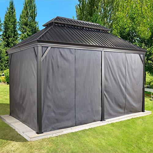 Sojag Aluminium Pavillon Messina Vorhänge Seitenteile Dunkelgraupassend für Gartenlaube Messina 12x20