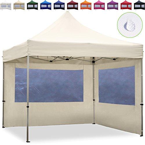 TOOLPORT Faltpavillon Faltzelt 3x3m - 2 Seitenteile ALU Pavillon Partyzelt Creme Dach 100 WASSERDICHT