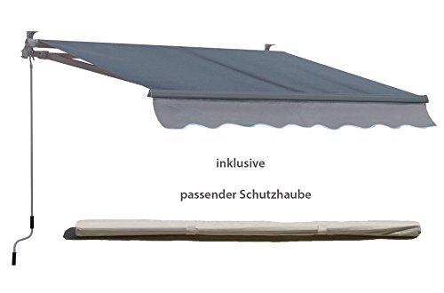 Grasekamp Markise 200x150cm Grau mit Schutzhülle Sonnensegel Sonnenschutz Jalousien