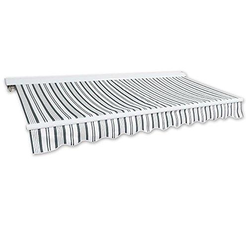 Kassetten-Markise 4 x 25 m grau-weiß Profilfarbe Weiß Hülsenmarkise Gelenkarmmarkise Sonnenschutz