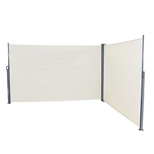 LZQ Doppel Seitenmarkise Sichtschutz Sonnenschutz Windschutz Markisenstoff aus Polyester für Terrasse Camping seitlicher Windschutz 160x600cm Beige