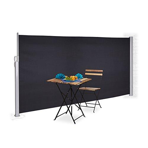 Relaxdays Seitenmarkise ausziehbar Sichtschutz Windschutz Wandmontage Kassettenmarkise HxB 180 x 300 cm anthrazit