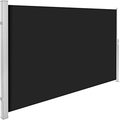 TecTake Seitenmarkise Sonnenschutz Sichtschutz Windschutz  Gehäuse und Standpfosten komplett aus Aluminium  - Diverse Farben und Größen - Schwarz  180x300cm  Nr 401528