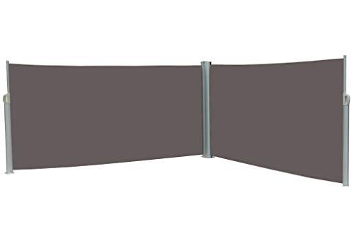 vanvilla Doppel Seitenmarkise Eck Markise Sichtschutz Windschutz Sonnenschutz Anthrazit 180x600 cm