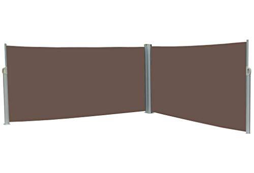 vanvilla Doppel Seitenmarkise Eck Markise Sichtschutz Windschutz Sonnenschutz Braun 200x600 cm