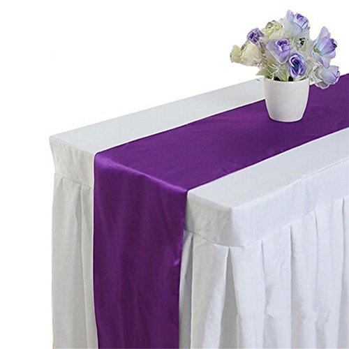 Gluckliy Satin Tischläufer für Hochzeit Bankett Party Bankett rechteckige Tischdecke Lila