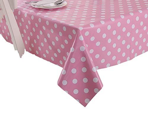 Vinylla Gepunktete Tischdecke Wachstuch PVC leicht abwischbar Rosa rose RoundDia 160cm