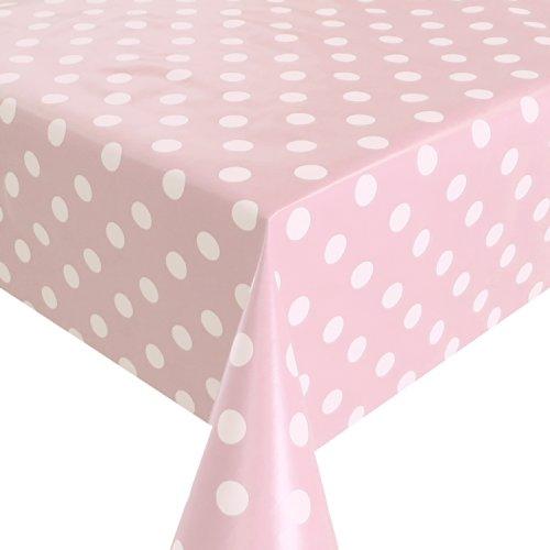 Wachstuch Breite 80 cm - Farbe Länge wählbar - Punkte Rosa Weiss Lebensmittelecht - Größe ECKIG 80 x 120 bzw 120x80 cm abwaschbare Tischdecke Glatt Gartentischdecke