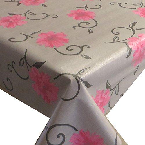 Wachstuch Breite Länge wählbar - d-c-fix Viviane Beige Blumen Rosa - ECKIG 110 x 150 bzw 150x110 cm abwaschbare Tischdecke Wachstücher Gartentischdecke