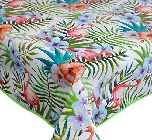 Wachstuch Tischdecke Abwaschbar Eckig 140 x 200 cm Grün Rosa Weiß Flamingo