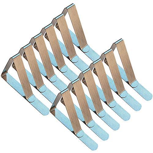 Xinlie Tischtuchklammern Edelstahl Tischtuchhalter Einstellbar Tischdeckenklammer 75  46  58cm Tischtuch Klammer 12 Stück