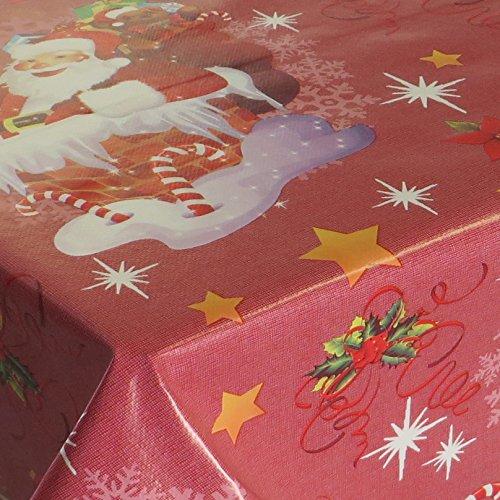 Wachstuch Noel Rot Glatt Weihnachten · Eckig 140x320 cm · Länge wählbar· abwaschbare Tischdecke
