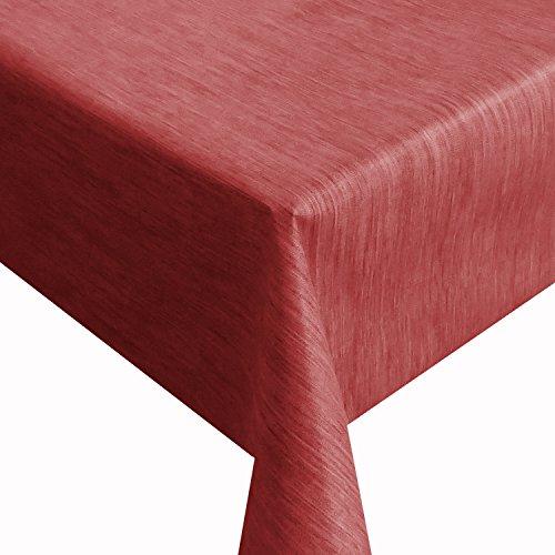Wachstuch Robuste Leinen Prägung Pro Rot Breite 130 cm Länge wählbar - 130 x 90 bzw 90x130 cm abwaschbare Tischdecke Gartentischdecke